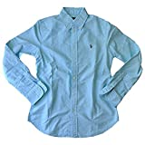 Polo Ralph Lauren Women's Custom Fit Oxford Button Down Shirt, Aegean Blue, L