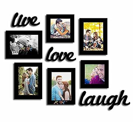 Buy Painting Mantra Live Love Laugh Set Of 6 Black Fiber Wood Wall