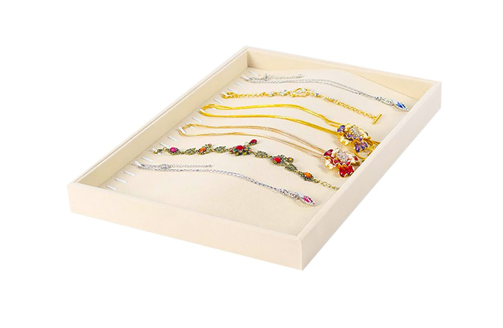 Premium Grade Beautiful Beige Velvet Sturdy Organizer Display Tray Stackable Rings Necklace Gemstone Shows Store Home Collectable Svea Display