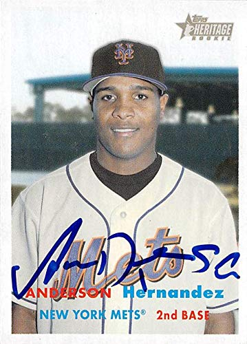 Anderson Hernandez autographed baseball card (New York Mets SC) 2006 Topps Heritage ()