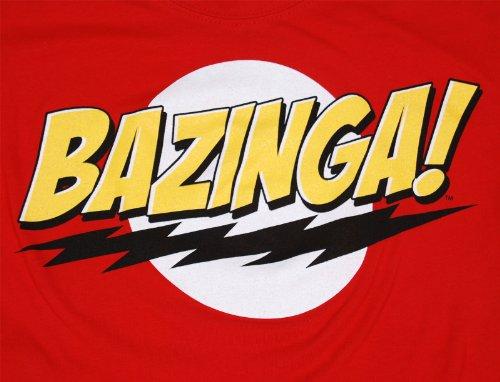 Big Bang Theory Bazinga! Juniors Girly T-Shirt, Large, Red
