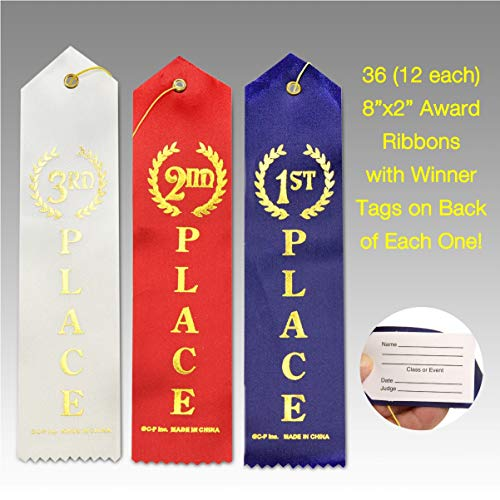 "J&J's ToyScape 36 Pcs Award Ribbons with a Card and String (1st Place (Blue), 2nd Place (Red), 3rd Place (White) - 12 Each; Size: 8.6"") Sport Competition's Award Ribbons, Talent Show Ribbons"