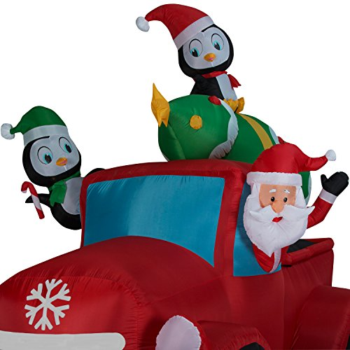 Santa Truck Retro with Christmas Tree on Roof Airblown Inflatable 8ft by Holiday Time (Image #1)