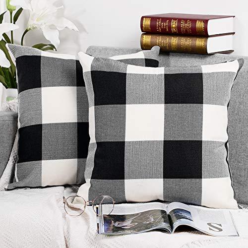 Buffalo Check Plaid Throw Pillow Covers Cushion Case Pillowcase Linen for Farmhouse Home Decoration 18 x 18 Inch 45 x 45…