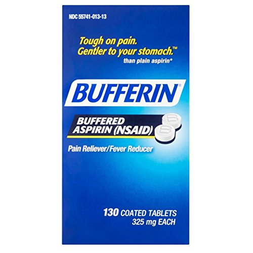 Bufferin Buffered Aspirin (NSAID) Coated Tablets Pain Reliever/Fever Reducer 130 ea (Pack of 3)