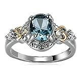 Beydodo Stainless Steel Rings Size 8 Braided Twist Blue Crystal Heart Women Ring Anniversary Wedding Band