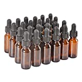 24Pack,1/2oz 0.5 oz,Amber Glass Bottle Bottles with Black cap and Glass Droppers.Using for Essential Oils,Lab Chemicals,Colognes,Perfumes & Other Liquids.