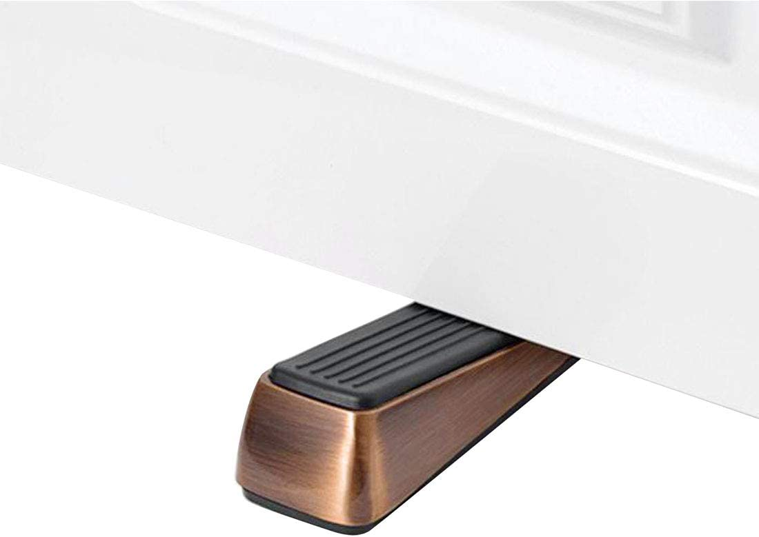 Made of Rubber and Zinc Alloy Copper Tone Wedge Holds Doors Firmly and Doesn/'t Budge uxcell Door Stopper