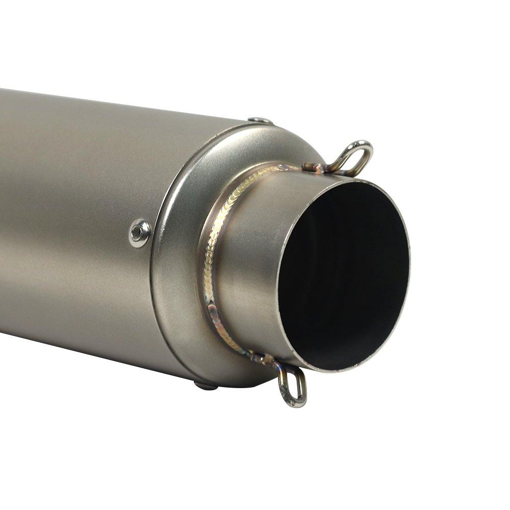 Universale 51mm Tubo di Scarico Marmitta in Acciaio Inox Terminale di Scarico Tubo Silenziatore per Moto KKmoon Scarico Moto Bocca obliqua