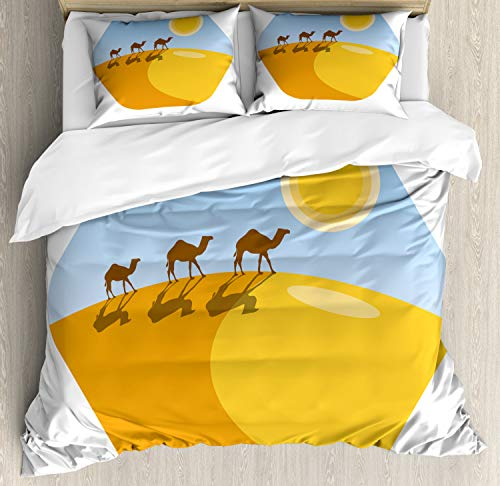 Ambesonne Egyptian Duvet Cover Set Queen Size, Camel Silhouettes on Desert Sand Dune Hill, Decorative 3 Piece Bedding Set with 2 Pillow Shams, Marigold Earth Yellow Pale Sky Blue and Chocolate