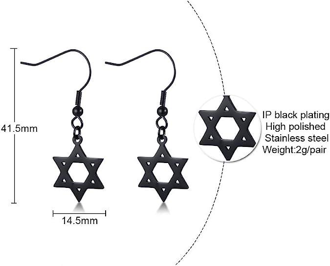 PJ Vintage Unisex Star of David Jewish Religious Symbol Hexagram Geometric Drop Dangle Hook Earrings