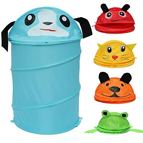 Foldable 5 Styles Cute Cartoon Folding Laundry Cylinder Pop Up Household Storage Bin Hamper Tidy Basket Kid Toy Sundries Box Bag by zilzol (Image #3)