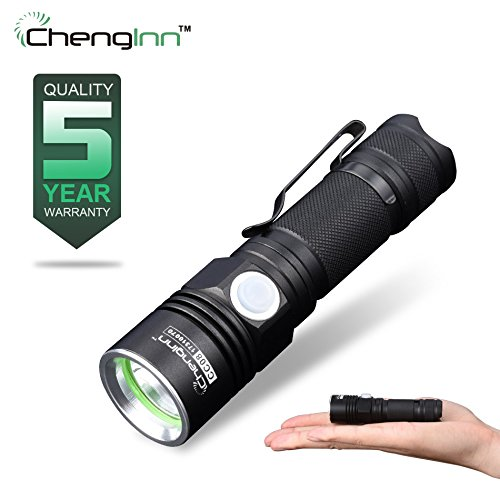 Mini LED Handheld Flashlight Rechargeable,Chenglnn Ultra Bright Outdoor Water Resistant Torch(Black)