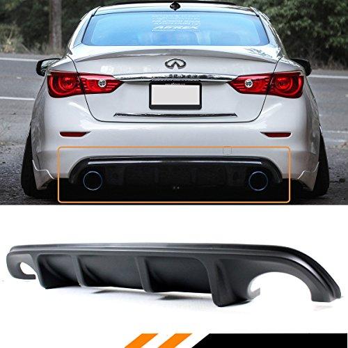(Fits for 2014-2017 Infiniti Q50 Q50S AQ Style Sport JDM Black Rear Bumper Diffuser)