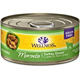 Wellness Complete Health Natural Grain Free Wet Canned Cat Food, Morsels Turkey Dinner, 5.5-Ounce Can (Pack Of 24)
