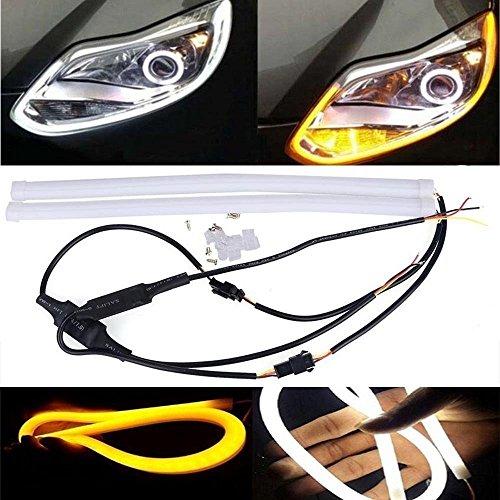 Kozdiko 2 Pcs 60Cm (24″) Car Headlight Led Tube Strip, Flexible Drl Daytime Running Silica Gel Strip Light,(Yellow,White)