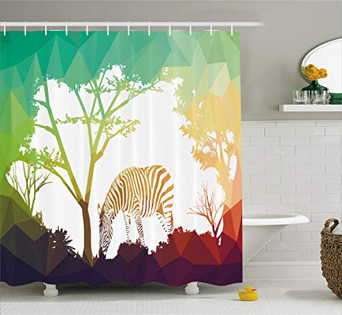 Ambesonne Africa Shower Curtain, Digital Zebra in Fractal Display Vivid Colors a Look at Kenya Illustration, Cloth Fabric Bathroom Decor Set with Hooks, 70