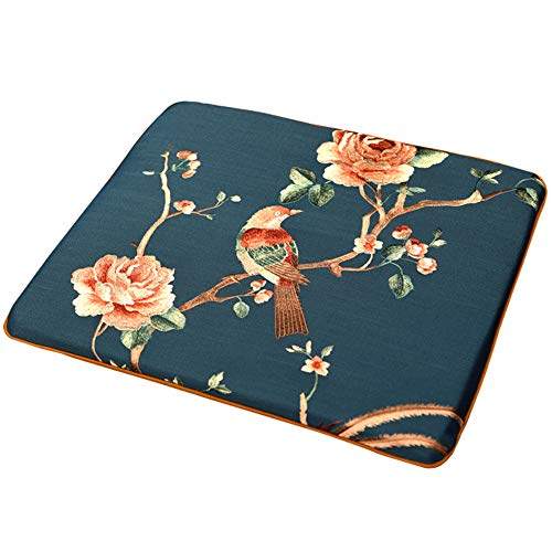 - KE & LE Chinese Mahogany Chair Pads, Classical Solid Wood Seat Cushion for Dining Chairs Linen Breathable Antique Mat Non-Slip Chair Cushion-A 45X45X3cm