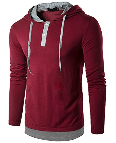 SIR7 Men's Casual Long Sleeve Henley Neck Hooded T Shirt Hipster Hip Hop Hoodie Shirt Wine Red M by SIR7