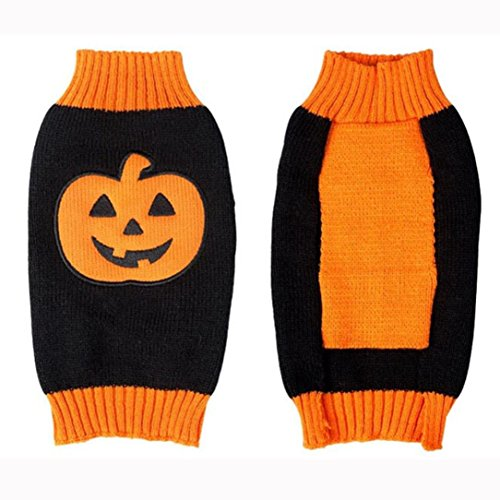 Puppy Clothes Neartime Halloween Fashion Comfortable Pet Clothes Festival Dress Sweater Knitwear (L, black) (Holograms Halloween Scary)