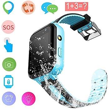 ... Watch Phone Digital Wrist Watch SOS Alarm Clock Camera Flashlight Phone Watch for Children Age 3-12 Boys Girls with iOS Android (01 Waterproof S7 Blue)