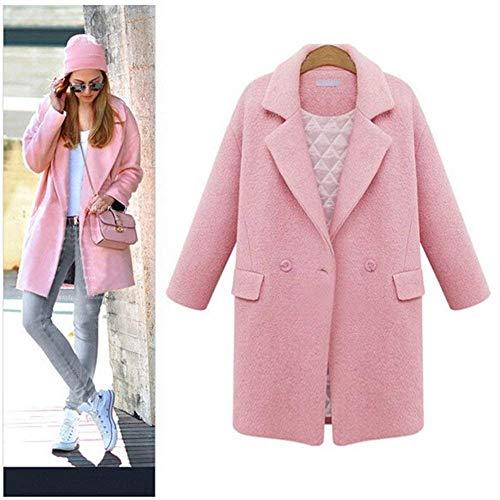 Trench Rosa Donna Di Style Lunga Caldo Giaccone Elegante Festa Ragazze Con Bavero Cardigan Invernali Manica Tasche Coat Moda Button Monocromo TnATrHS
