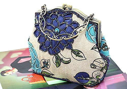 ILISHOP Beaded Luxury Printing Vintage Evening Women Bag Blue Women's Handbag wrx7IEr
