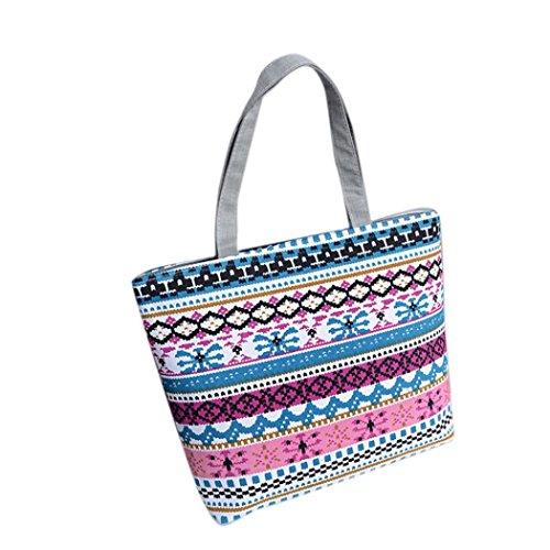 Ladies Cross Body Shoulder Bag Handbags Large Capacity Canvas Bags Pink for Women TOPUNDER H