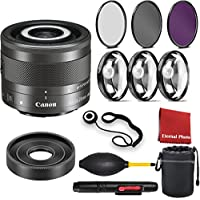 Canon EF-M 28mm f/3.5 Macro IS STM Lens with 3 Peice Filter Kit, Blower, Lens Hood,Lens Pen, Case, Cap Keeper, Cleaning Cloth, 3 Piece Macro Closeup Kit