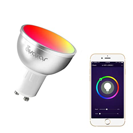 GU10 Bombilla Wifi Inteligente, Avatar Controls Inalambrica Dimmable 5w RGB LED Lámpara Control Remoto Compatible