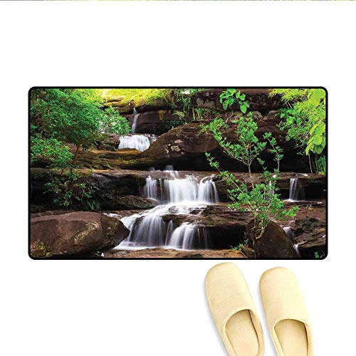 Bath Mat Little Waterfalls Flow on Rock Stairs Surrounded by Long Plants Earth Door Mat Indoors Brown White and Green 20