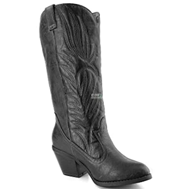 2f85b82e41 Women's Western Chunk Heel Stitched Cowboy Boots in Black, Brown (6, Black)