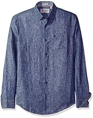 Men's Long Sleeve Nep Linen
