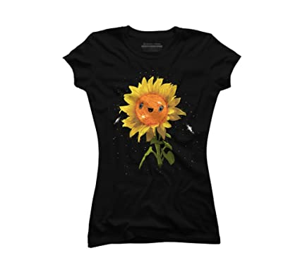8c13bbaa5 Sunflower In Space Juniors' Small Black Graphic T Shirt - Design By Humans