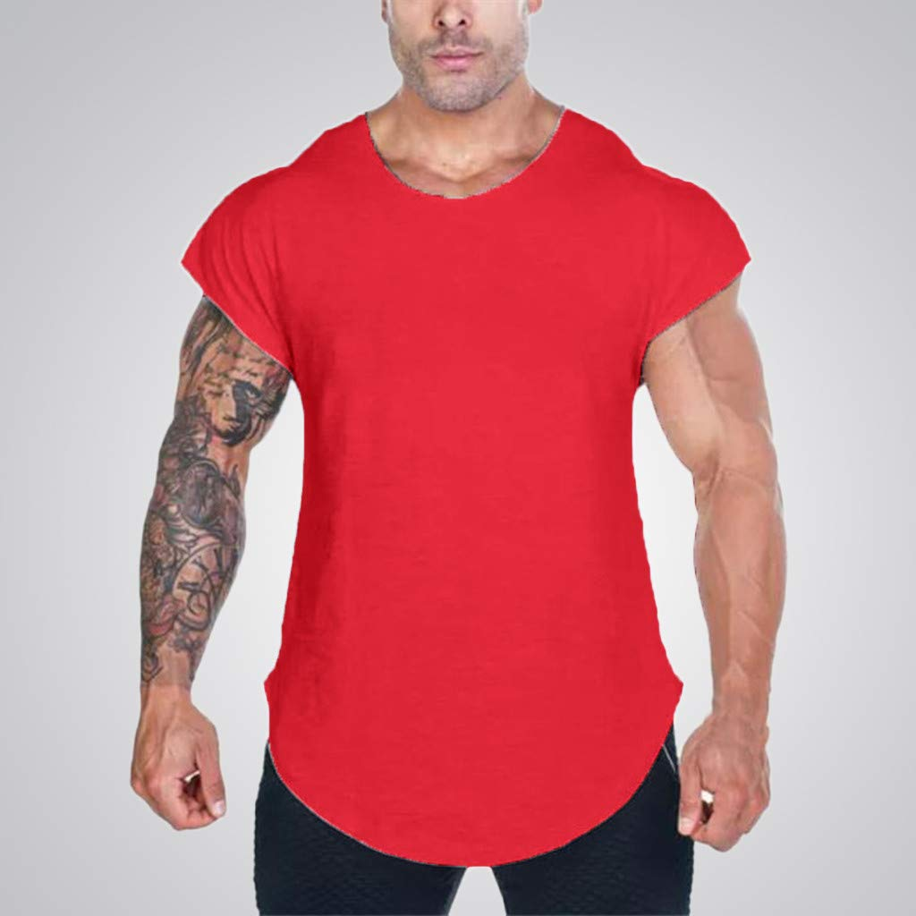 MISYAA T Shirts for Men, Solid Muscle T Shirt Breathable Sport Tank Top Basic Sweatshirt Tee Masculinity Gifts Mens Tops Red by MISYAA (Image #2)