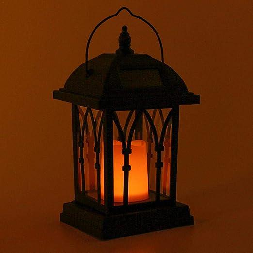 Farol de velas de jardín solar, farol portavelas exterior, para jardín, luz pura, impermeable, antioxidante, resistente a la corrosión – negro: Amazon.es: Iluminación