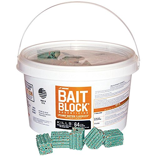 JT Eaton 704-PN Bait Block Rodenticide Anticoagulant Bait, Peanut Butter Flavor, For Mice and Rats (Pail of 64) (Bait Rat Poison)