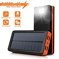 AMAES Solar Charger 24000mAh,Portable Po...