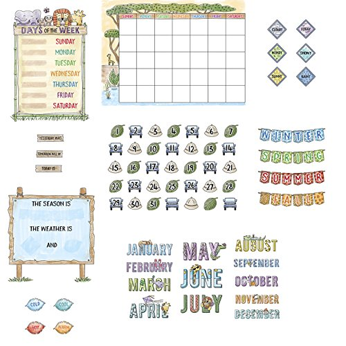 Safari Friends Calendar Bulletin Board Set, 67 Pieces