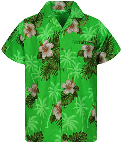 Funky Hawaiian Shirt, White Flower, green, XXL