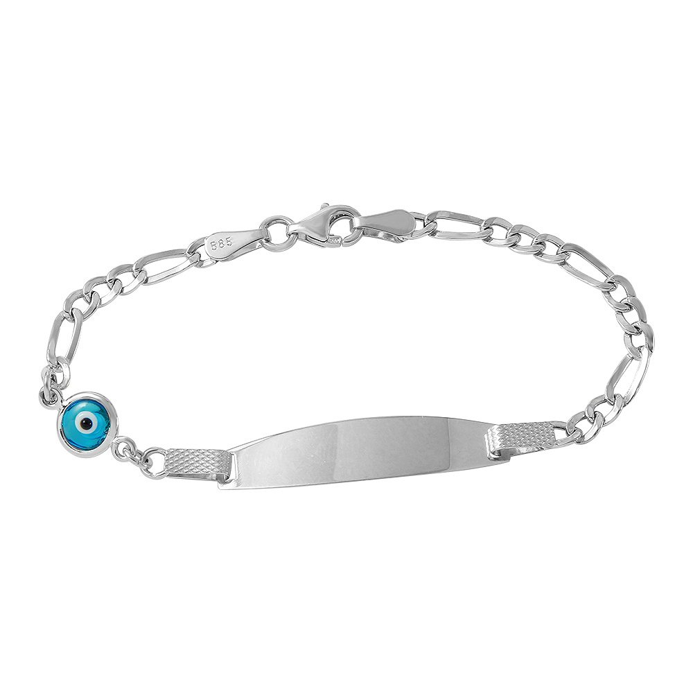 Polished 14k White Gold Blue Evil Eye Baby Bracelet with Figaro Chain Link 6'' by Evil Eye by Jewelry America