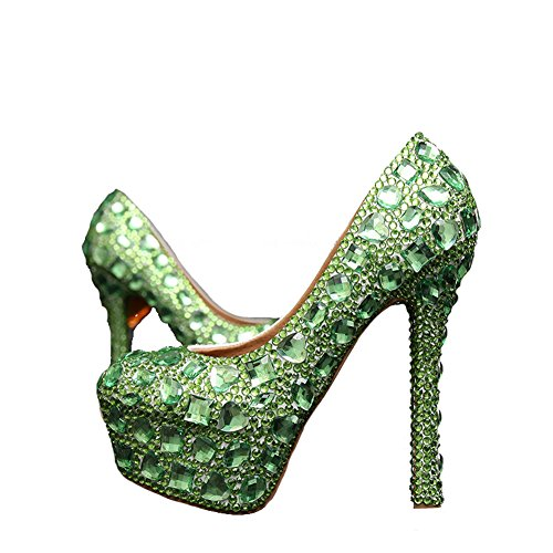 Wedding Fuchsia Pumps 06cm Green Eveing Women's 14 Heel cm Pageant Bridal heel Boshi qZ8Cwc