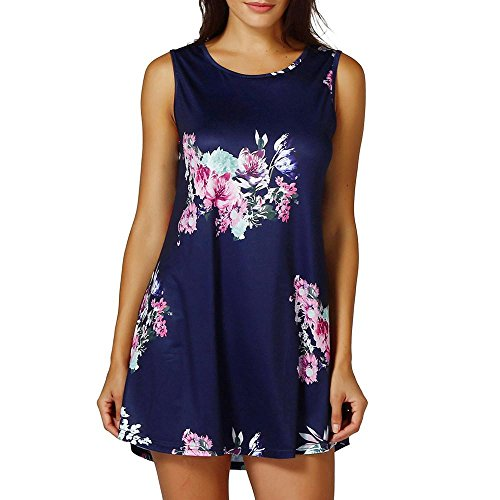 Clearance Sale! Wintialy Womens Casual Floral Print Sleeveless Vest Shirt Tank Blouse Tunic Tops (Navy Pull)
