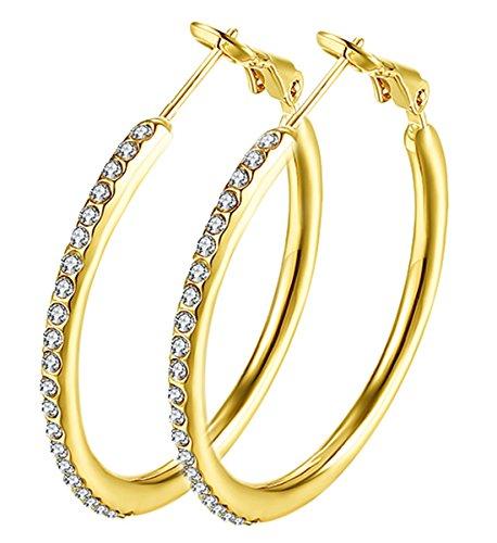 Hoop Earrings, Cubic Zirconia Gold Plated Hoop Earrings For Womens, Rhinestone Girls Earings