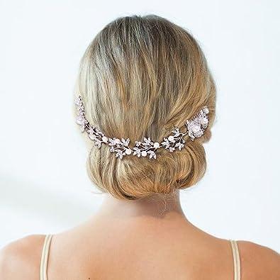 Clearine Classique Intemporel Marguerite Fleur Foliac/é Cristaux Perle Artificielle Peigne /à Cheveux R/églable Mariage Cheveux Bijou