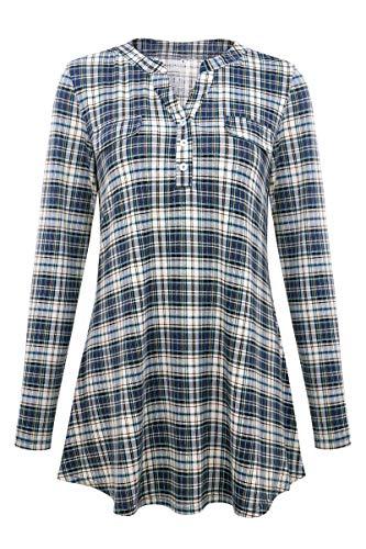 ca440c26928db2 Sopsy Women's V-Neck Long Sleeve Tunics Button Plaid Henley Shirt Blouses  (FBA)