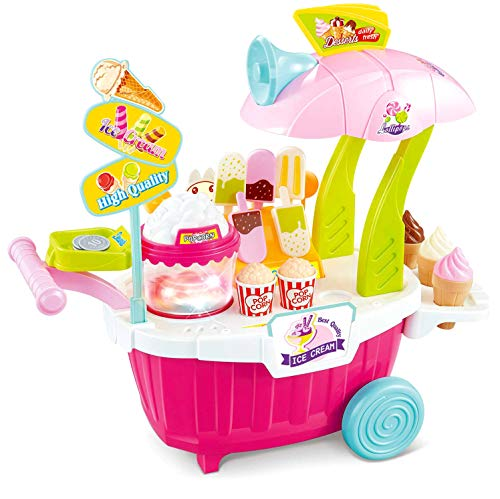 PowerTRC Super Market Sweet Shop Portable | Ice Cream Cart Playset | 43 Pieces | Pink (Portable Ice Cream Cart)