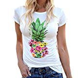 Highpot Women's Fashion Pineapples Short Sleeve Tops Hawaiian Casual T Shirt