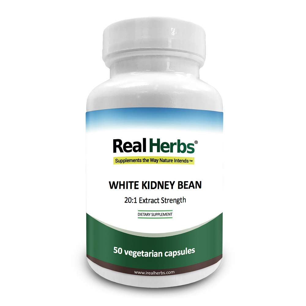 Real Herbs White Kidney Bean 20:1 Pure Extract 700mg (Equivalent to 15000mg of White Kidney Bean) - 50 Vegetarian Capsules