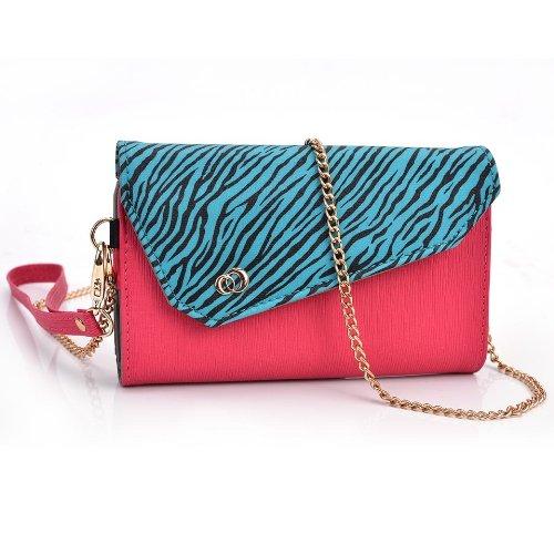- Kroo Smartphone Wallet with Shoulder Strap - Frustration-Free Packaging - Magenta with Blue Zebra